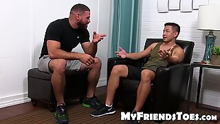 Feet worshiping and licking with hot daddy hunk and Asian stud