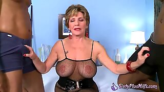 Breasty Granny Fucked by Two Black Guys