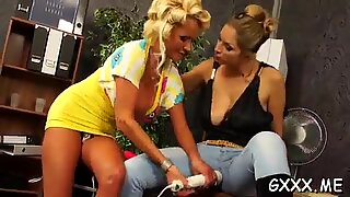 killer playgirl plays with toy in front of constricted up lover