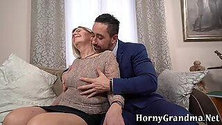 Old grandma gets licked and fucked