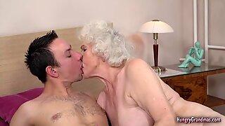 Grandma rides hard dick