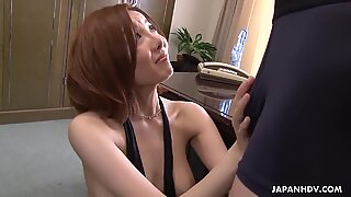 Hot and moaning Asian is vibed and sucks it