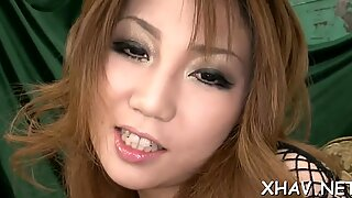 Asian fucks cunt with vibrator