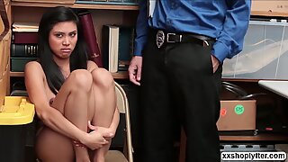 Asian Shoplifter Ember Snow caught and fuck by LPs cock