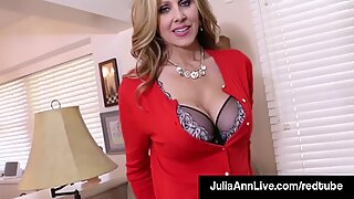 Busty Milf Julia Ann Bangs Her Hot Pussy with a Dick Dildo!