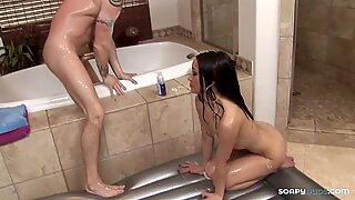 Asian babe gives perfect blowjob to cowboy