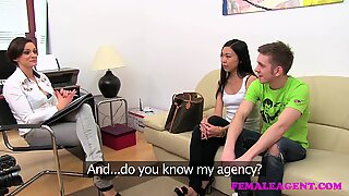 FemaleAgent Hot Asian pleasures MILF then fucks boyfriend