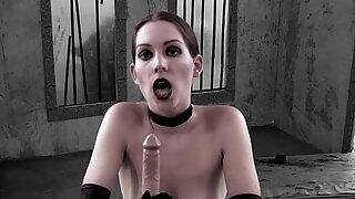 Dark gothic girl gives dildo a Halloweenie blowjob