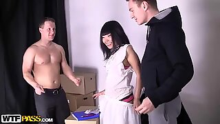 Tight Asian pussy gets stretched by two steely ramrods