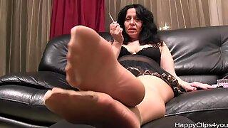 Alisa High heels dangling, stockings and smoking