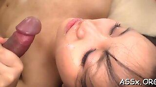 Asian babe's double penetration