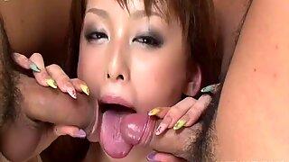 Torrid nympho Ichika sucks two dicks and waits for a mish fuck