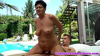 Euro granny dickriding by the pool
