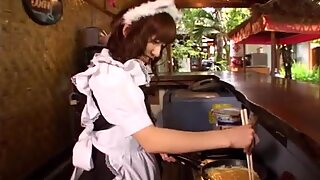 Shy brown haired jap babe Aimi Hoshii bakes pancakes