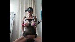 Slave mom Monica punishing herself