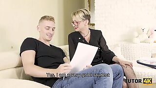 TUTOR4K. Man comes to teacher and ties her legs