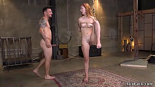 Hairy pussy ginger slave whipped and fucked
