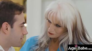 Mature blonde MILF fucks her patient