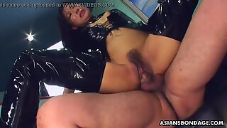 Fucking her wet cunt as she wears her PVC boots