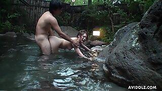 Japanese babe, Saori Ono had sex in the spa, uncensored