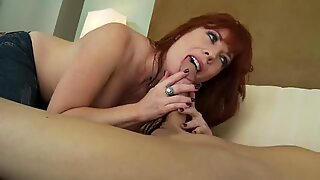Brittany Oconnell fills her mouth with a hard meat cock till her throat