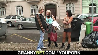 Young dude picks up 60 years old prostitute