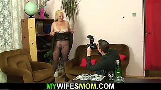Hairy blonde granny riding son in law's cheating cock