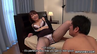 Japanese cock teaser, Yui Ayana is gently sniffing dick, uncensored