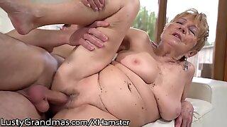 LustyGrandmas unshaved curvy Mature Gets youthful Meat Injection