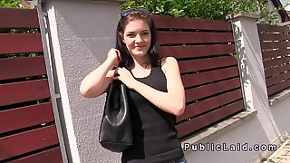 Perfect ass Czech amateur bangs outdoor in public
