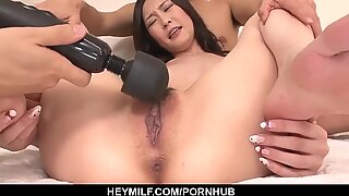 Strong group sex and cum on pussy for Kotone Am