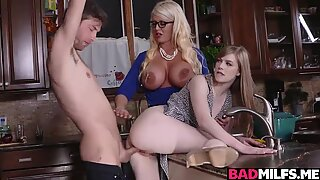 Dolly and Alura got pounded all over the kitchen