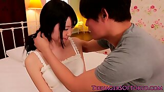 Bodacious Asian gets her hairy box licked while sucking cock Report this video