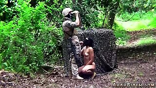 Arab slut sucking soldier dick after work