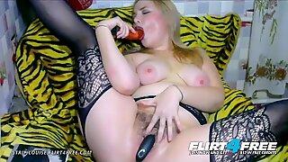 Strip Louise on Flirt4Free - Cute Chubby Euro n Lingerie Dildos Hairy Pussy