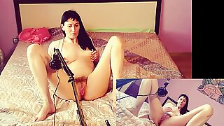 Russian hot milf touches big lips and tests ASMR sounds masturbation handjob hairy mom GinnaGg