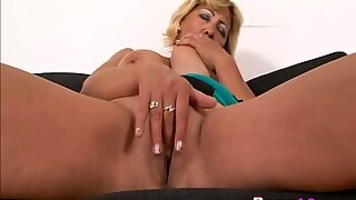 Blonde granny Sarah fingers slippery pussy and gets fucked by black stud