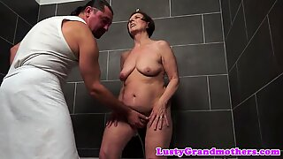 Granny fingered and fucked after shower