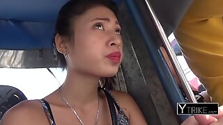 Asian teen whore loves sucking a wet white fat cock