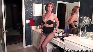 American grannies Kay and Penny masturbate in pantyhose