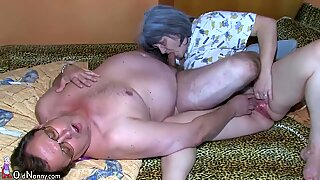 OldNanny Old granny and grandpa is enjoying with young woman
