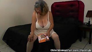 velvety nylon gets granny Brenda in the mood