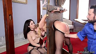 Asian and brunette anal threesome bdsm