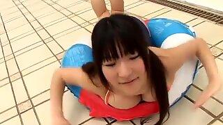 Buxom Japanese angel Mizuki Horii in her hot tight swimming suit