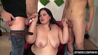 Horny Plumper Gangbanged by Five Guys