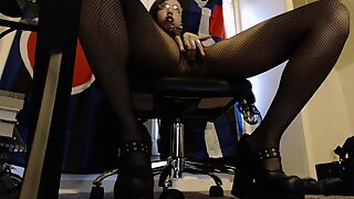 Young Hairy Goth Plays Around Under her Desk in Fishnet Pantyhose and Heels