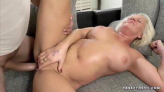 Busty blonde granny seduced by a stud