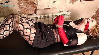 Lover Tied Whore in Stockings and Record her on Camera