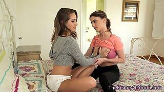Gorgeous lesbian teen scissoring hairy babe