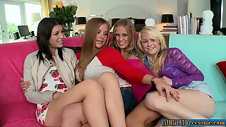 Sapphic foursome lesbos moan erotically